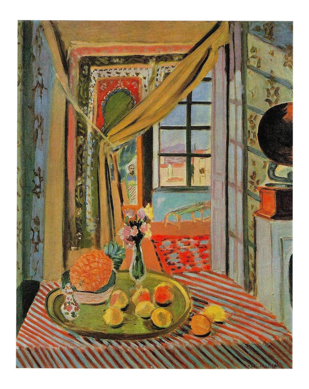 Matisse drawing room. Vintage lithograph print interior