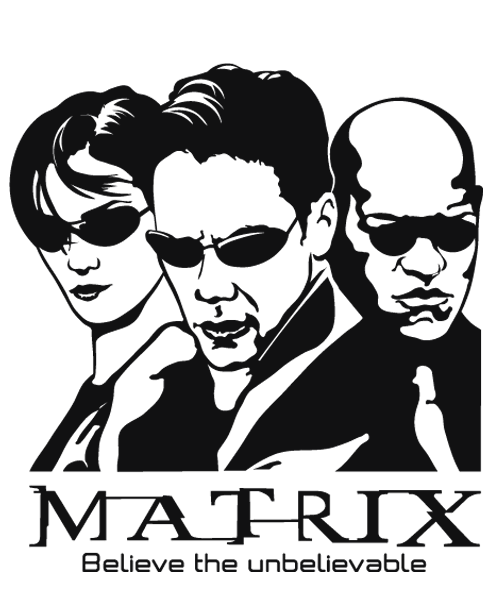 Matrix drawing. Home decor with decal