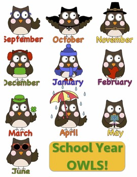 Years clipart owl. For the months of