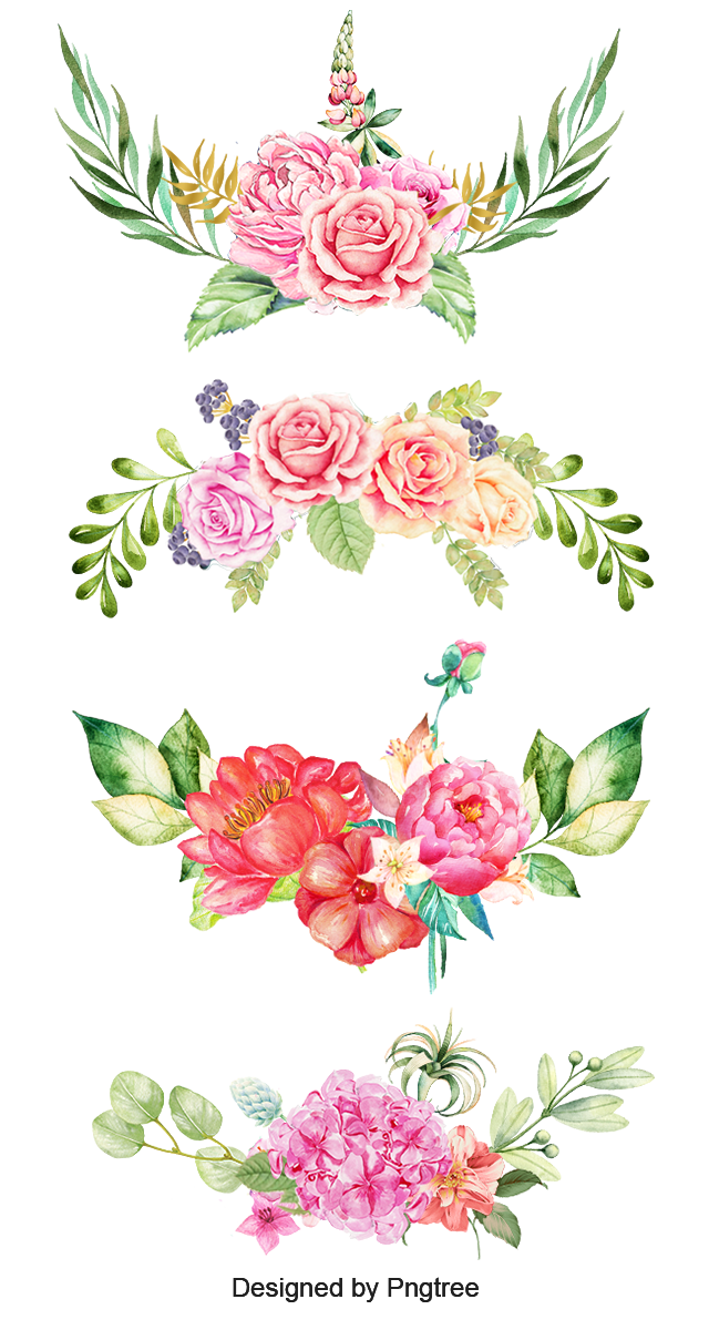 Watercolor flowers border png. Clipart the bottom pink