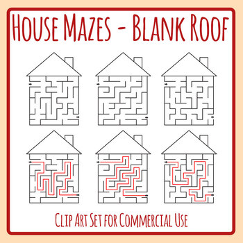 Maze clipart blank. House with roof and