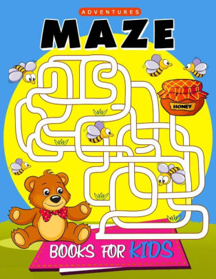 Maze of kid holding a balloon. Books for kids activity