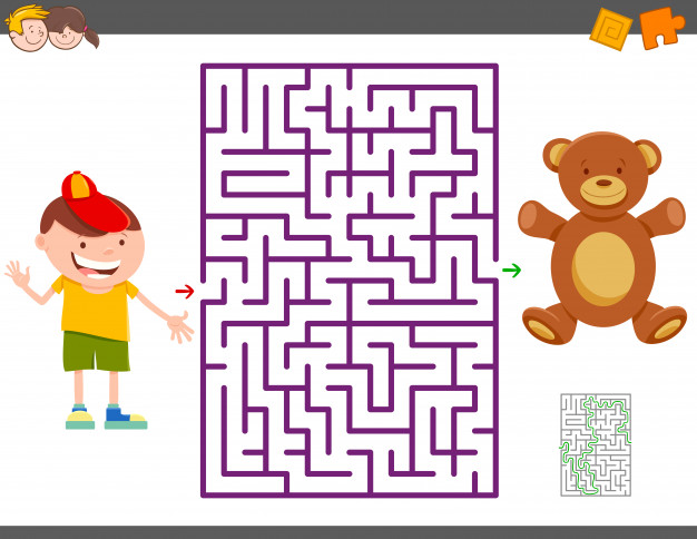 Maze of kid holding a balloon. Game with cartoon boy