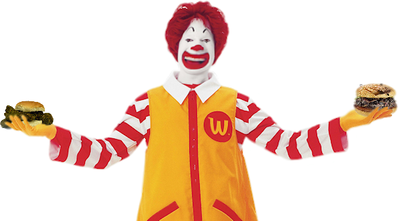Mcdonalds clown png. Admits the food and
