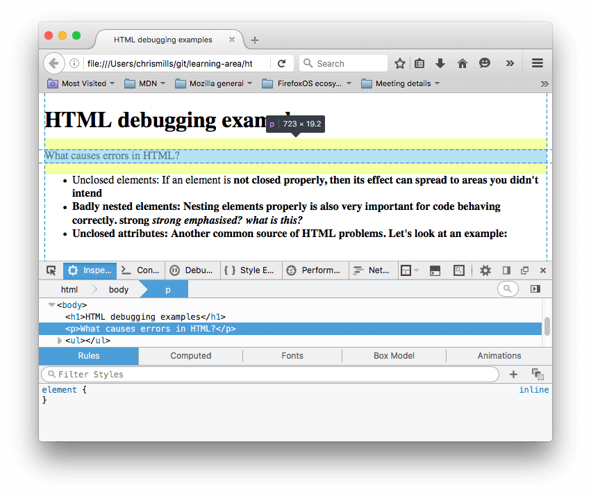 Mdn svg localhost. Debugging html learn web