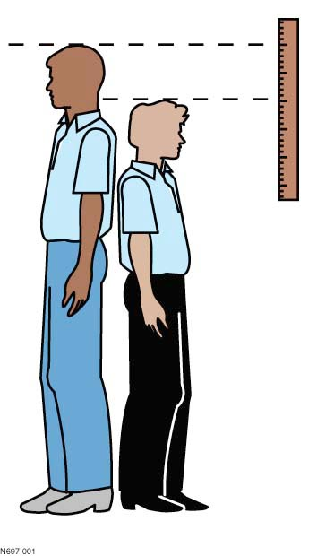Measuring clipart height difference. Accurately class exercise x