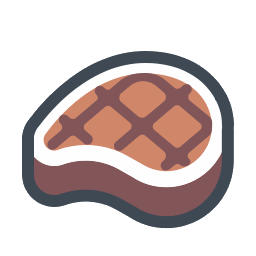 Beef vector fish food. Meat sausage icon free
