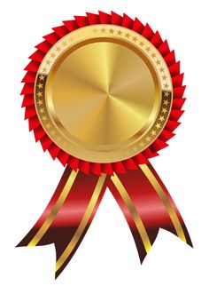 Medal clipart. Gold with red ribbon