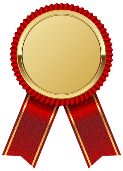 Gold medal with red. Diploma ribbon png vector library