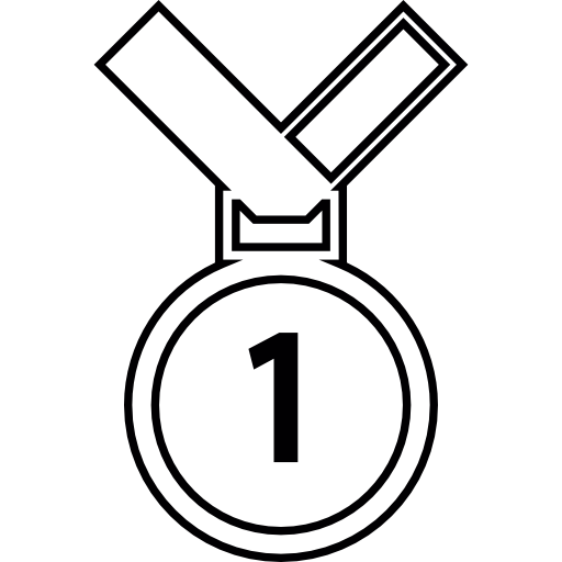 Medal drawing hand holding. Number one icons free