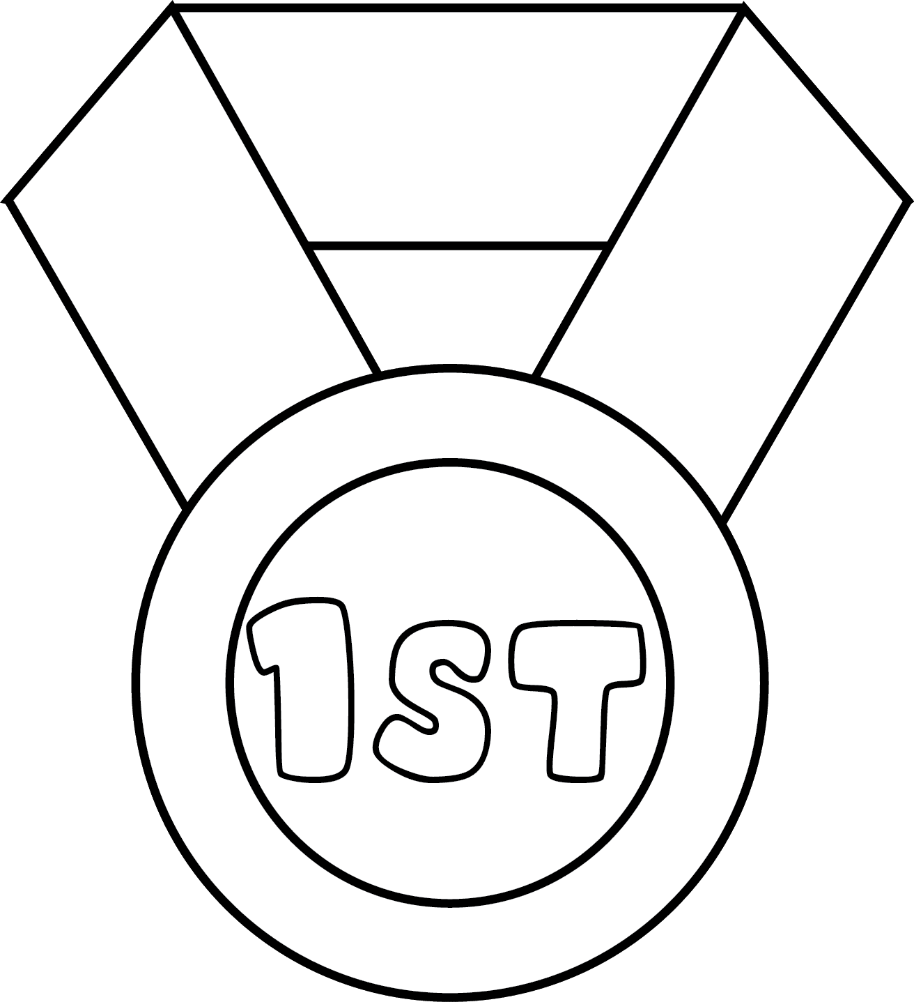Medals drawing first place medal. Digital stamps of for