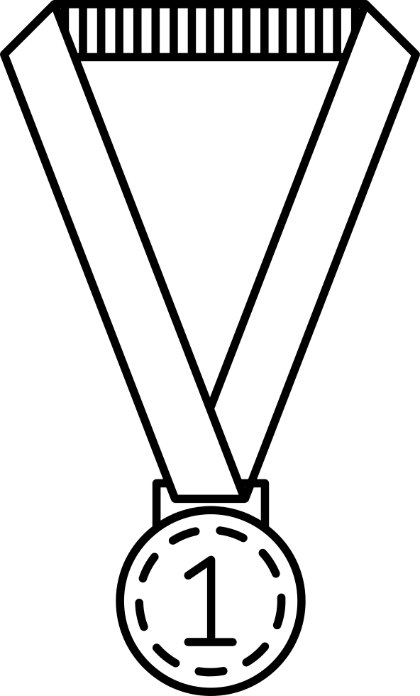 Medal drawing hand holding. Hanging of a ribbon