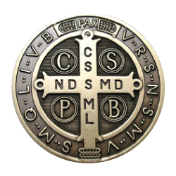 Medal drawing hand holding. The of saint benedict