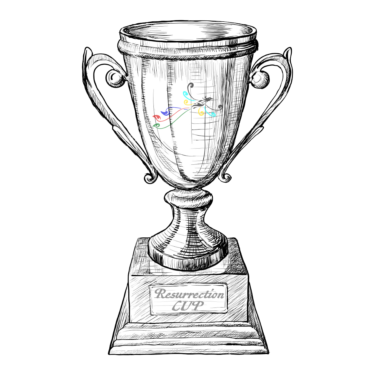 Medal drawing sketch. The resurrection cup penobscot