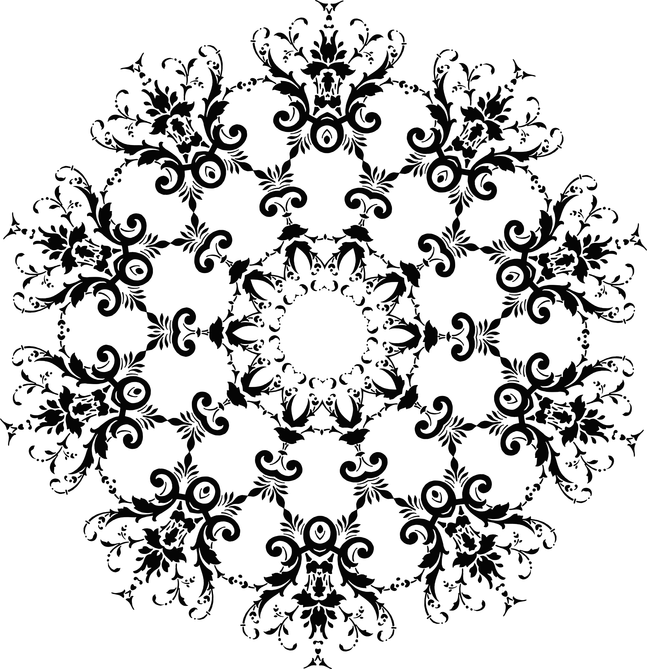 Medallion vector floral. Silhouette icons png free