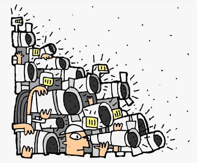 Media clipart media camera. Cartoons many reporters cameras