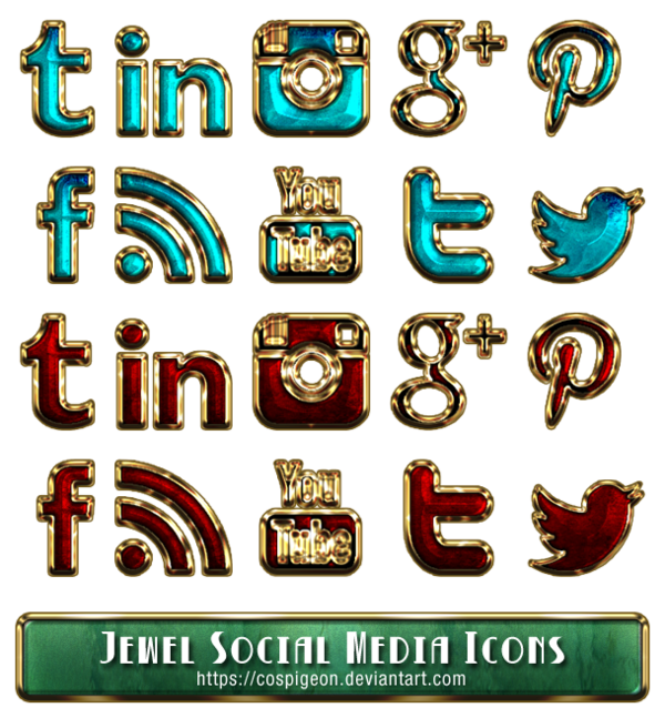 Media icons png. Jewel social by cospigeon