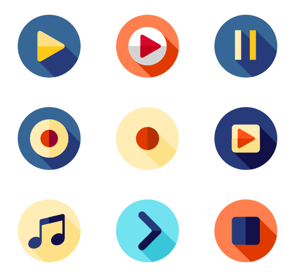 Media vector. Player icons free