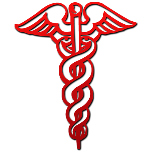 Medical clip physician symbol. Red caduceus clipart image