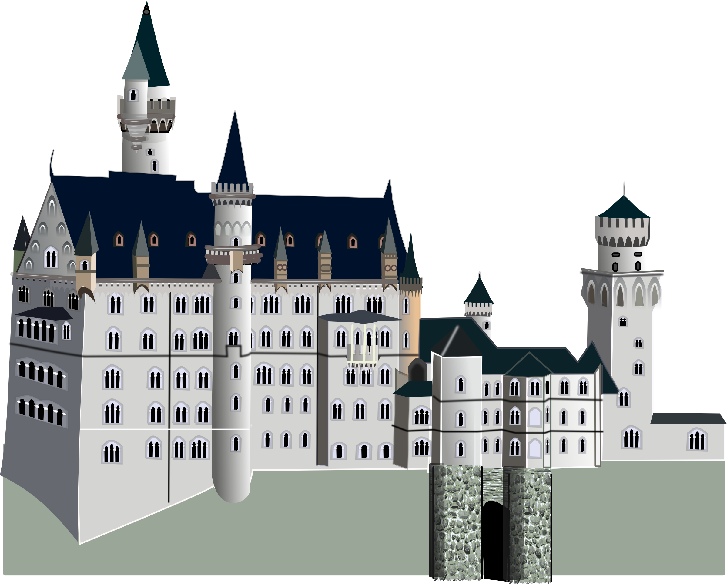 Transparent castle palace. Medieval icons png free