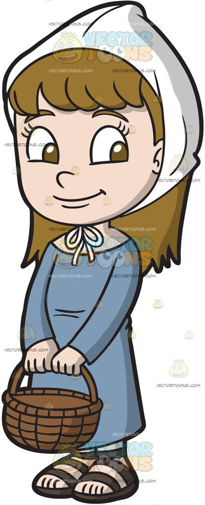 A charming girl cartoon. Medieval clipart picture transparent stock