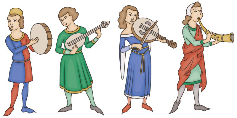 Pencil and in color. Medieval clipart dancing png transparent