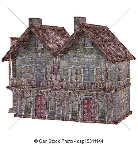 Medieval clipart hut. Town house isolated on clipart freeuse stock