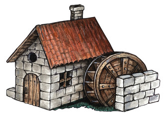 Medieval clipart hut. Water mill drawing at