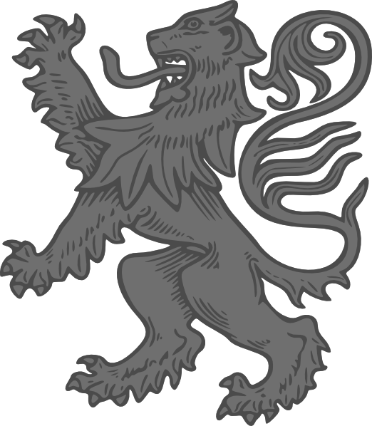 Grey clip art at. Medieval clipart lion vector stock