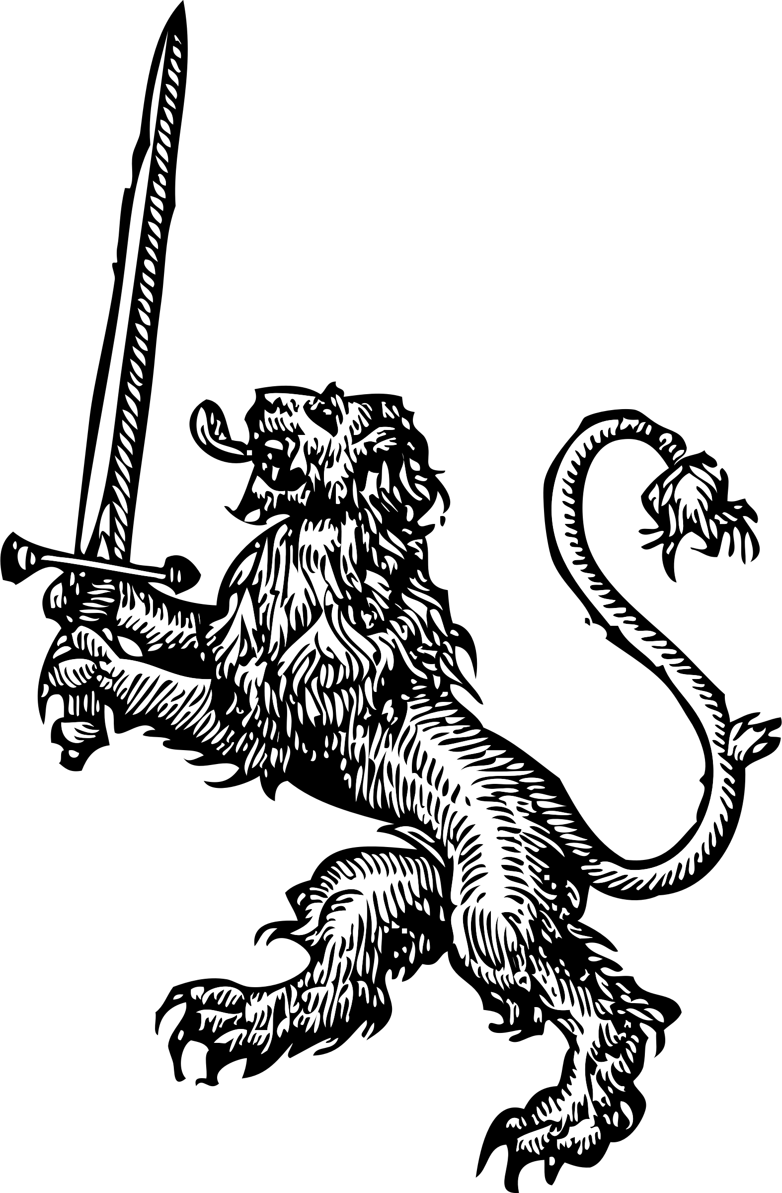 Medieval clipart lion. With sword big image vector transparent