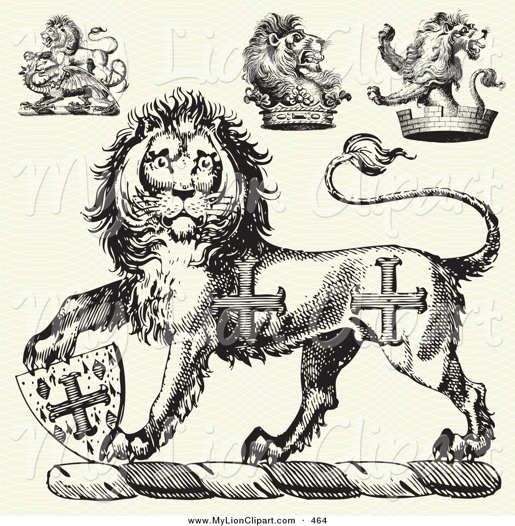 Of a digital set. Medieval clipart lion png library stock
