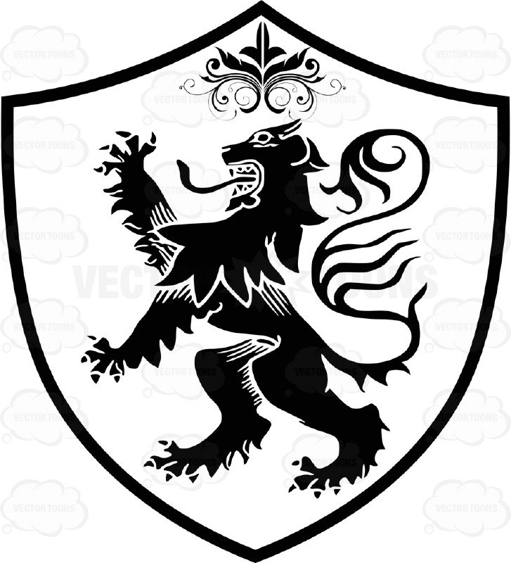 Black and white stylized. Medieval clipart lion clipart free library