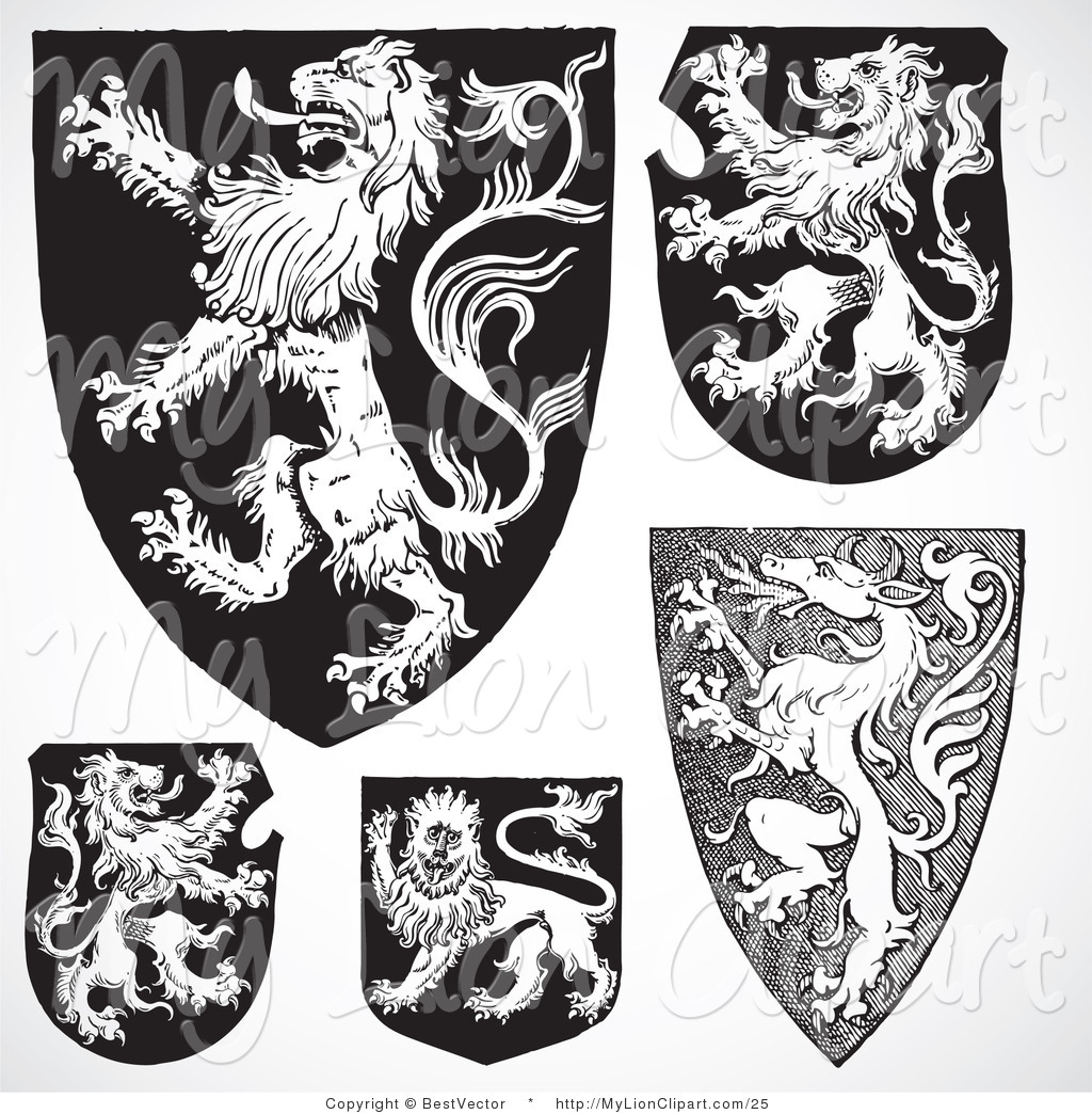 Medieval clipart lion. Vector of a digital picture royalty free download