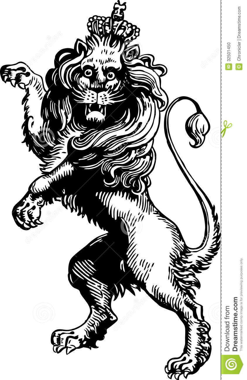 Heraldic stock vector illustration. Medieval clipart lion picture freeuse download