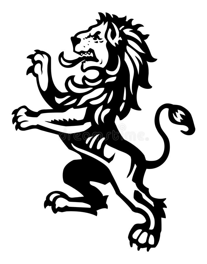 Rampant stock vector illustration. Medieval clipart lion graphic library
