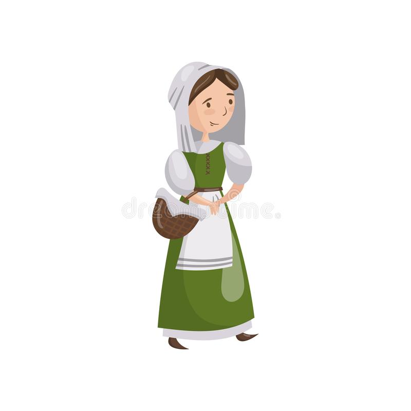 In traditional dress cartoon. Medieval clipart maid royalty free