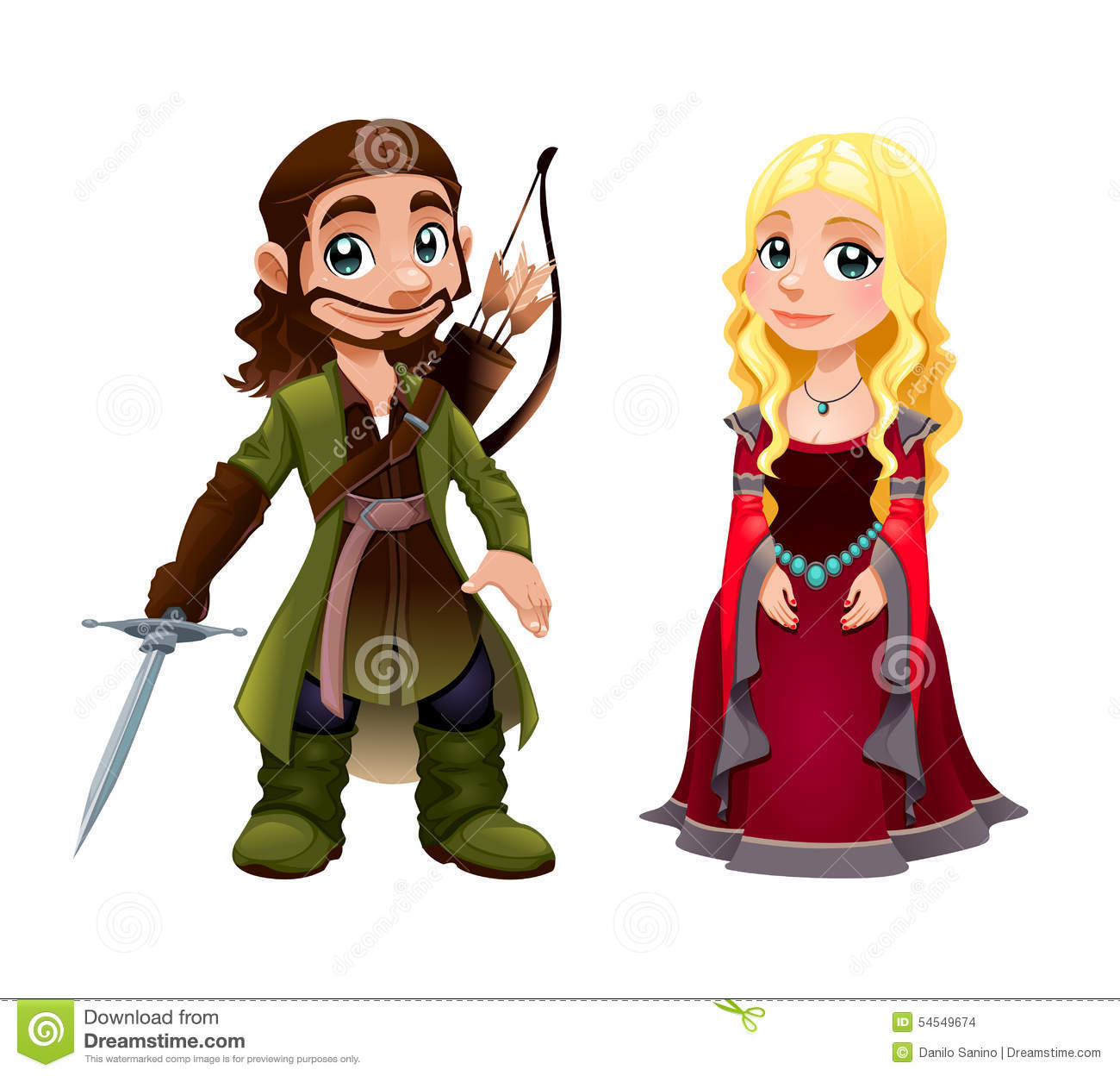 Couple knight and princess. Medieval clipart maid vector black and white library