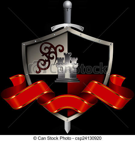 Medieval clipart ribbon. Shield with sword and vector freeuse library