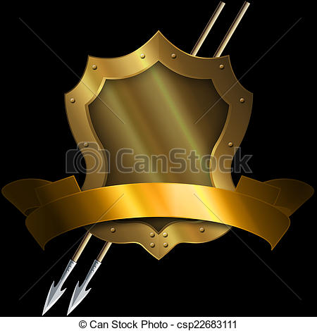 Medieval clipart ribbon. Gold shield with two clip art transparent library