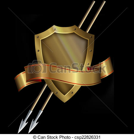 Gold shield with spears. Medieval clipart ribbon vector royalty free library