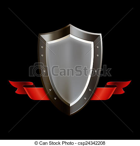 Shield with red riveted. Medieval clipart ribbon png black and white library