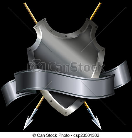 Shield and silver riveted. Medieval clipart ribbon banner free stock