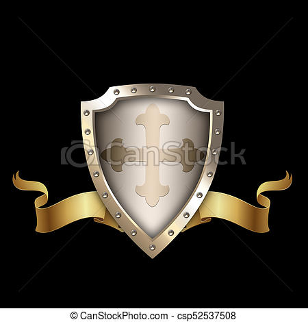 Medieval clipart ribbon. Shield with golden stock clipart freeuse stock