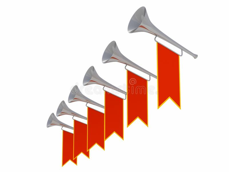 Medieval clipart trumpet. Trumpets with red banners royalty free