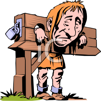 Medieval Prisoner in Stocks - Royalty Free Clipart Picture