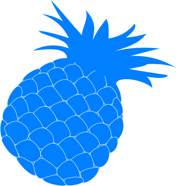 Medium pineapple. Blue clip art at