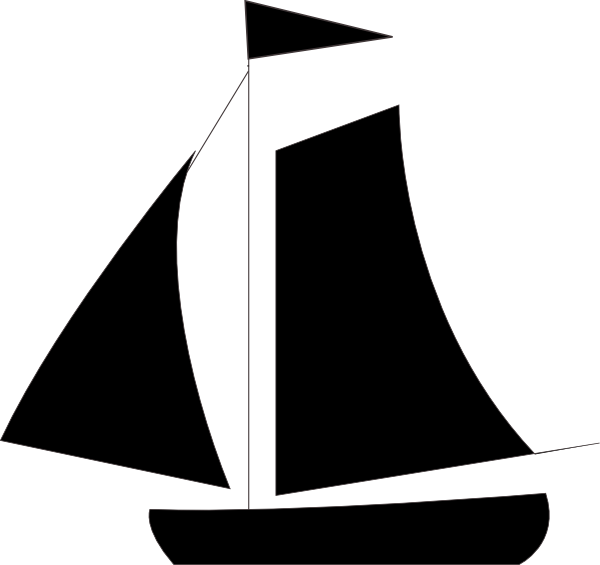 Medium sailboat. Black sail boat png
