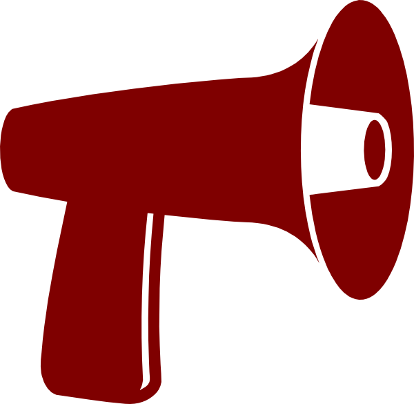 Vector megaphone outline. Red clip art at