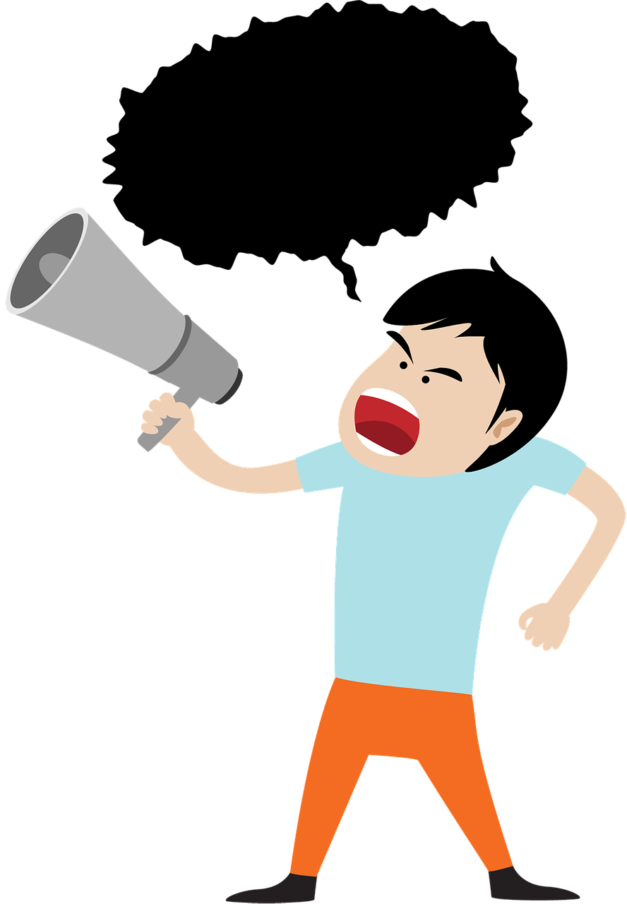Megaphone man png. Business speaker announcement free
