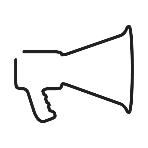 Megaphone outline png. Stroke icon transparent svg